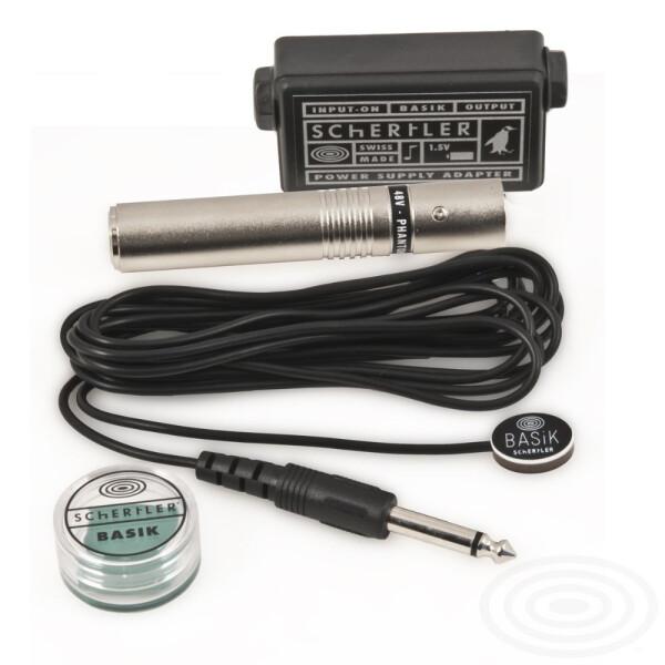 Schertler Kontaktmikrofon Schertler BASIK-Road 1,5V AA Batterie-Power-Adapter & 48V Phantom-Power-XLR-Adapter