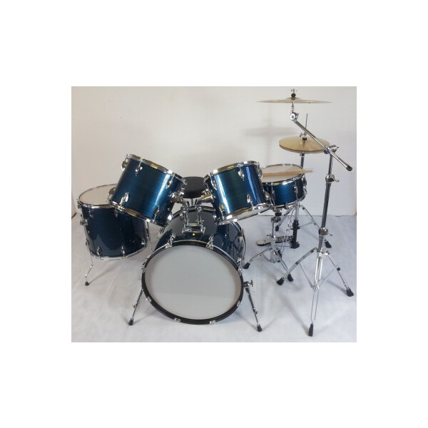 "Drumte Drumset JW225-PVC-1 BW, blau, komplett mit 4-tlg. Hardware, 14"" HiHat, 16"" Becken"
